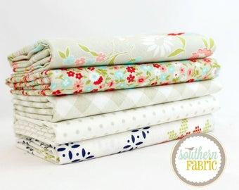 "Vintage Picnic - Gray - Fat Quarter  Bundle - 5 - 18""x21"" Cuts - Bonnie and Camille - Moda Quilt Fabric"