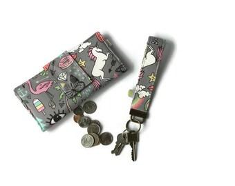 Wallet with unicorn, pineapple, rainbow, Doodle, geek, wallet, large wallet, unicorn wallet, summer doodle wallet, women wallet, phone case