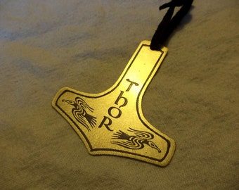 Etched Brass Thor's Hammer Ornament