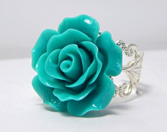 Teal Rose Ring; Silver Filigree Ring; Resin Rose Ring; Rose Cabochon Ring; Floral Jewelry; Teal Ring; Resin Flower Ring; Adjustable Ring