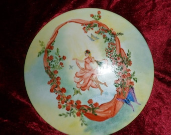 plate holder or plate of villa customizable Butterfly Fairy porcelain