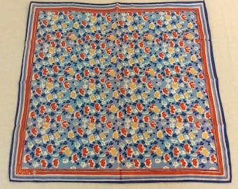 "Vera Bradley Vintage Blue Abstract Floral Scarf 22"" x 22"""