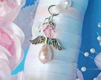 Wedding Bouquet Charm Pink Swarovski Crystal and Pearl Angel Bouquet Charm