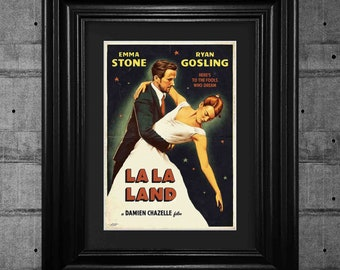 La La Land Ryan Gosling Movie Poster Print Pop Art Framed Wall Art Tribute Collectible Quality Gifts For Her Gifts For Him #6