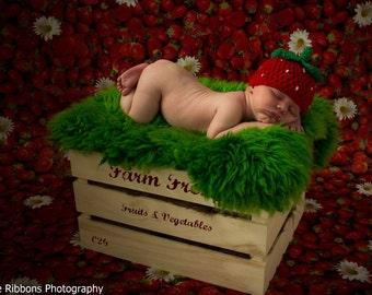 newborn strawberry hat, newborn photo prop, fruit hat, photography prop,