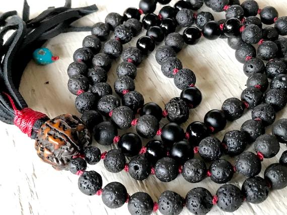 Mala For Grounding & Stability,  Black Lava Mala Beads,  Onyx Mala Necklace, Unisex Mala, Boho Mala, Kabbalah Beads, Diffuser Mala