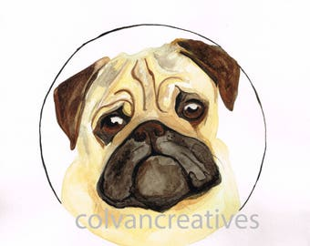 Pug watercolour print