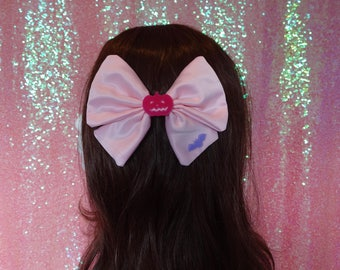 Kawaii Creepy Cute Pumpkin and Bat Pink Twin Tail Hair Bow