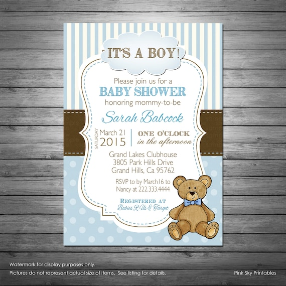 Boy teddy bear baby shower invitation with free diaper raffle like this item filmwisefo Choice Image