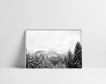 Snowy Mountain Black And White Pine Tree Forest Winter Landscape Scandinavian Print Digital Download Winter Wall Art Downloadable Poster