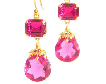 Vintage Fuschia Pink Austrian Crystal Drop Quartz Earrings