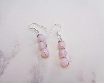 Opalite Wire Wrapped Sterling Silver Hooks Dangly Earrings, Trinity, Bridal Earrings, Orange Glow, Dangle, Drop Earrings, Blue Orange