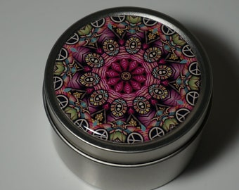 Round Storage Tin Trinket Box Gift Tin Keepsake Box Gift Box Jewellery Box Bits and Bobs Tin Patterned Mandala in Pink