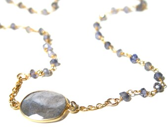 Labradorite Sideways Pendant and Rosary Chain Necklace