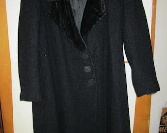 Vintage Black Wool Overcoat, unknown maker and vintage