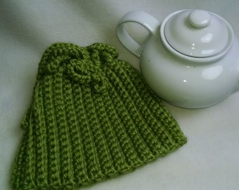 Crochet Tea Cosy Tea Pot Cozy - Teapot cozy Apple Green, thick wool blend