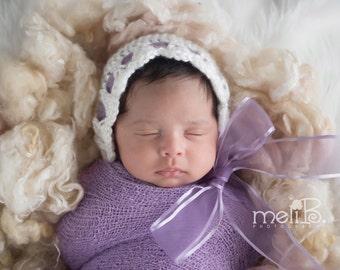 Newborn Baby Hat - Pretty Ribbon Bonnet - Newborn Photography Prop - Handmade Baby Hat - Lavender Bonnet - Newborn Photo Accessory