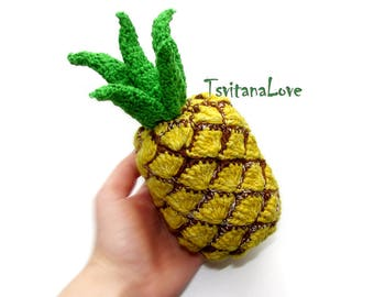 Pineapple big crochet (1 pc) - Play food - Pretend Play - Fake food - Toy Fruit - Eco Friendly Toy - play kitchen - Crochet Fruit