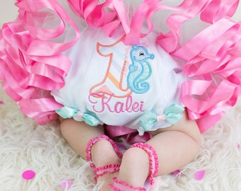 Custom embroidered 1st birthday bloomers  ~ seahorse/personalized with coordinating ribbons