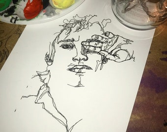 Single Line Art Print : A one line drawing illustration portrait artwork art print