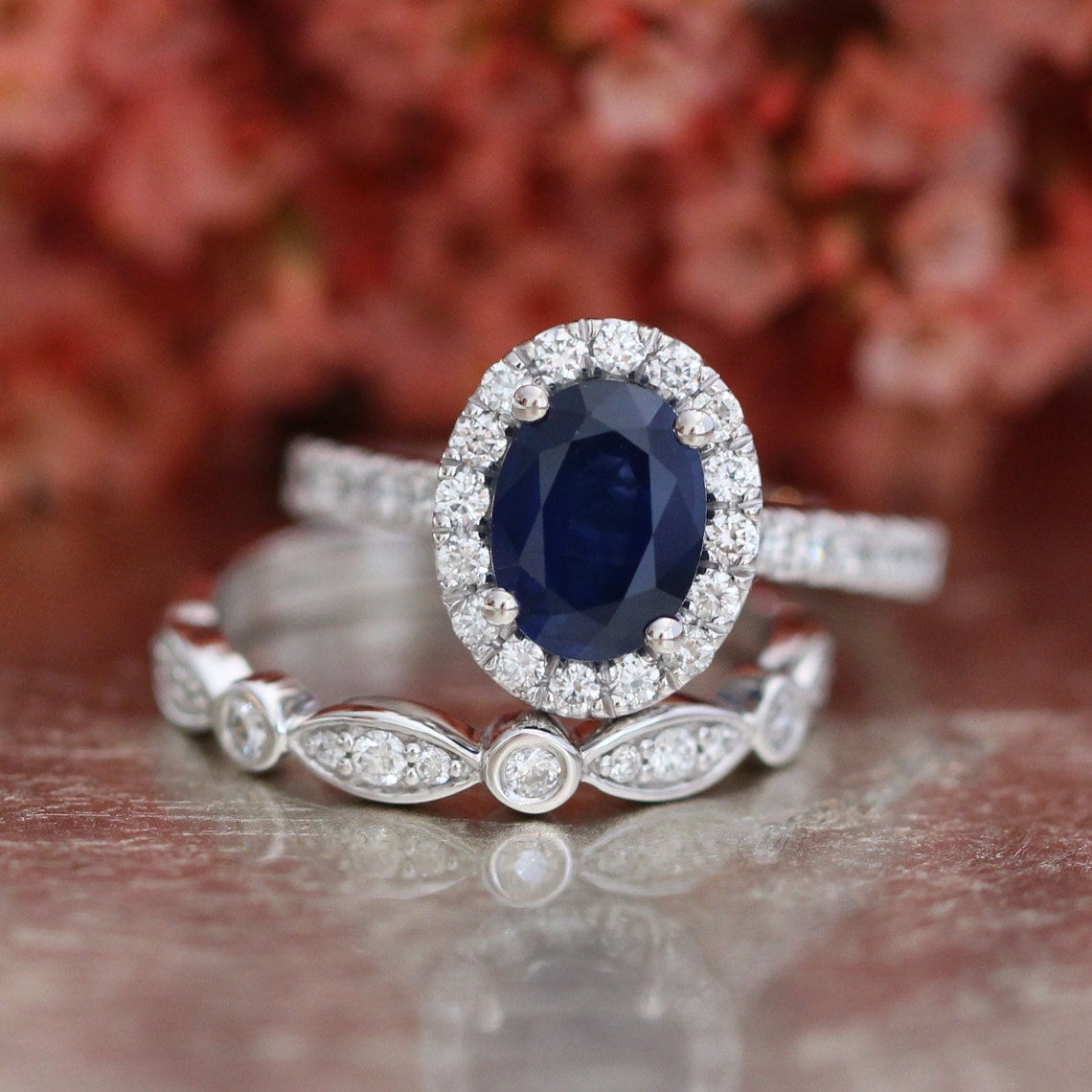 Oval Sapphire Engagement Ring and Bezel Scalloped Diamond