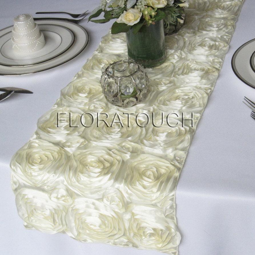Ivory Satin Ribbon Rosette Wedding Table Runner