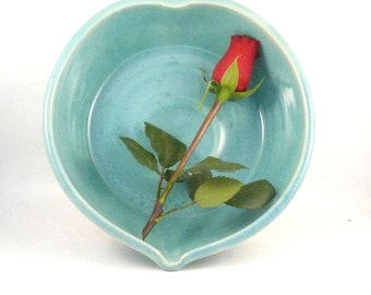 Large Heart Shaped Ceramic Serving Bowls in Something Blue, Valentine, Wedding 9th Anniversary Gift, Ceramics and Pottery, Nesting Bowl Set