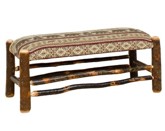 Rustic Hickory Dining Table Bench Upholstered Bear Mountain Fabric