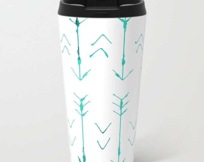 Arrow Travel Mug Metal - Coffee Travel Mug - Teal Arrows -  Hot or Cold Travel Mug - 20oz Travel Mug - Stainless Steel - Made to Order