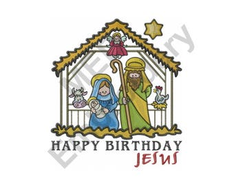 Nativity Scene - Machine Embroidery Design, Happy Birthday Jesus
