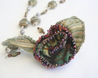 Wire Wrapping Beaded Necklace with Fabric Flower Accent - Batik Moss and Silver