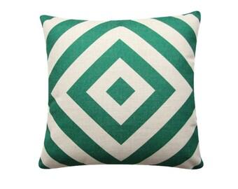 """Green Geometric Diamond Pillow Cover, 18""""x 18"""" Cushion Cover, Geometric Cushion, Emerald Green, Minimalist Cushion Tribal Cushion 384"""