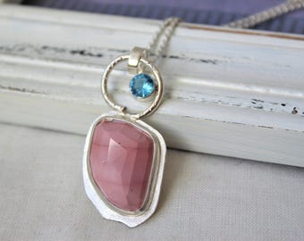 Sterling silver, Pink Imperial Jasper ans Blue Topaz - Pendant with chain - jewelry necklace 925