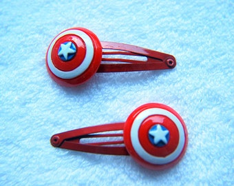 Captain America Shield Snap Hair Clips - Pack of 2 - Red