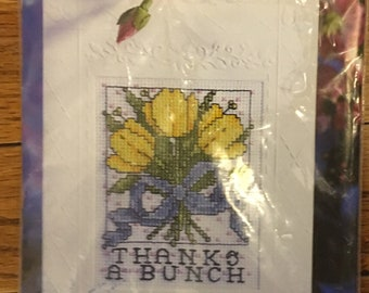 Cross stitch greeting- Thanks a bunch ! In original packaging.