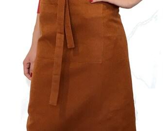 "Cooking - Baking - Apron / BBQ Apron Linen cooking-apron wit big pocket ""Ocker"" (33"" x 27,5""), gift"