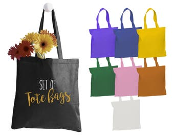 Set of canvas tote bags with your design - 6 oz. reusable tote bags - Wedding Favors - Party favors-  Promotional Gift Bags - Free shipping