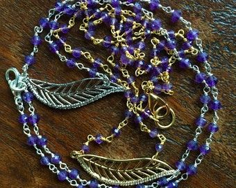 Feather Amethyst Necklace