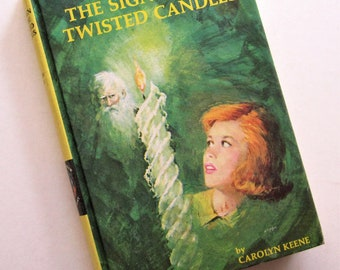 Nancy Drew Mystery Stories The SIGN of the TWISTED CANDLES #9 Carolyn Keene Yellow Picture Cover Hardcover