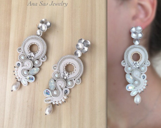 Ivory bridal soutache earrings, Swarovski crystals and pearls, natural pearls , silver details