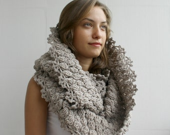 Hand Knit Infinity Milky Brown Scarf - Loop - Circle scarf - Cowl - Milky brown wool scarf - Gift For Her - for women Clothing Gift Outdoors