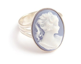 Gothic Victorian Cameo ring Portrait of a lady Adjustable Steampunk goth