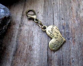 Bronze Love Heart Charm - Midori Charm - Fauxdori Traveler's Notebook Charm