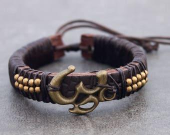 Leather Beaded Bracelets Men Unisex  Charm Brass Om Symbol Adjustable Tibetan Unisex Hippy Lucky Bracelets Yoga Bracelets Beaded Brass