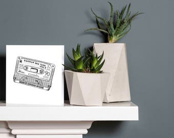 Birthday Mix Tape Cassette - Square Greetings Card