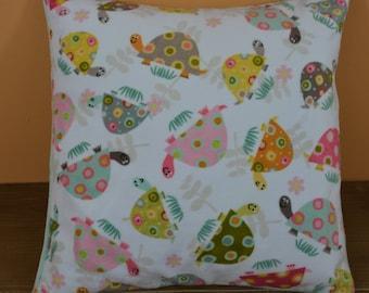 Personalized Minky Pillow With Turtle Print 12x12... Custom Minky Child's Pillow