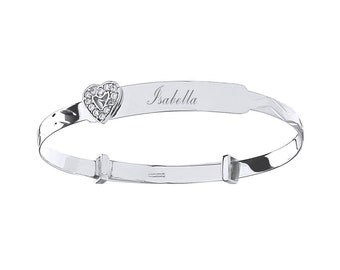 9ct White Cz Heart Baby Identity Bangle - Personalised Name & Message