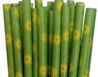 Green with Yellow Daisy Paper Straws