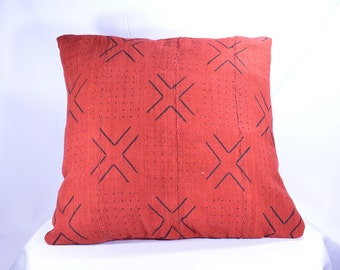 20x20 - Red Mudcloth Pillow Cover; Authentic Bogolanfini Decorative Pillow, African Mud cloth Throw Pillow from Mali (BF1002)