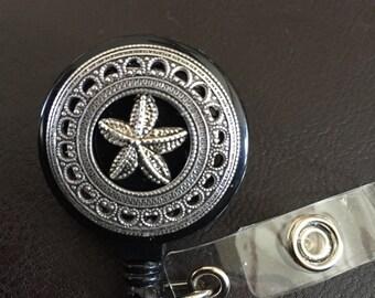 Starfish id badge holder, Starfish gift, retractable badge reel, badge clip